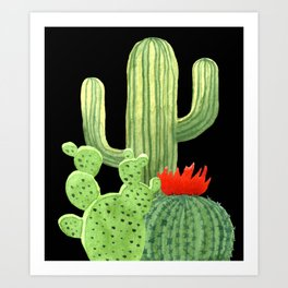 Perfect Cactus Bunch on Black Art Print