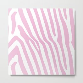 Baby Pink Zebra Stripes Metal Print