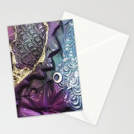Purple Coloured Abstract Textured Glass Art Stationery Cards