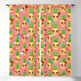 Happy Kawaii Cute Pineapples on Pink Blackout Curtain