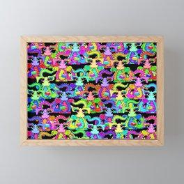 Colourful Cartoon Dragon Pattern Framed Mini Art Print