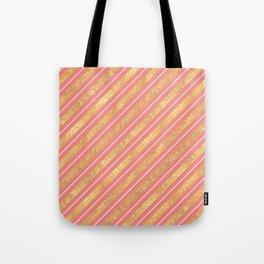 Modern elegant faux gold glitter coral geometric stripes Tote Bag