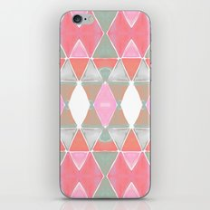 Art Deco Triangles Coral Grey iPhone Skin