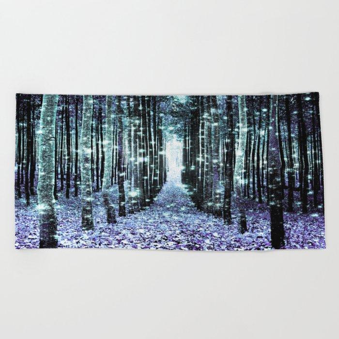 Magical Forest Lavender Aqua/Teal Beach Towel