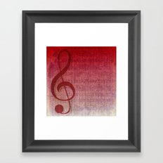 Red Pink Grunge Music Sounds Framed Art Print