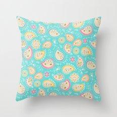 Hedgehog Paisley_Colors and Light blue Throw Pillow