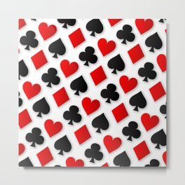 Playing Card Suits Collage Metal Print