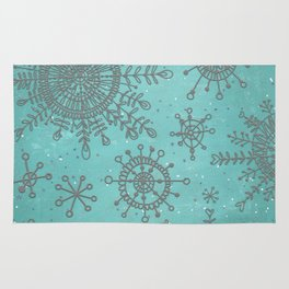 Blue and Silver Snowflakes Rug