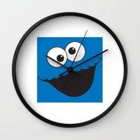 sesame street Wall Clocks featuring Sesame Street Cookie Monster by Jconner