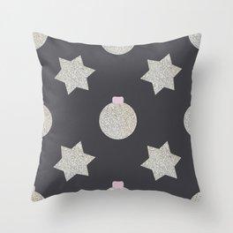 star and christmas ball, silver Throw Pillow