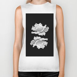 White Rose On Black Biker Tank