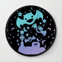 pastel goth Wall Clocks featuring Creepy Cute Fairy Kei Pastel Goth Bats, Stars, and Crescent Moons by KawaiiMachine