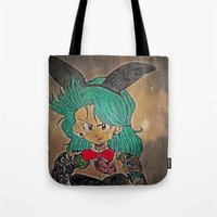 dragon ball Tote Bags featuring First Lady Of Dragon Ball  by Artistic