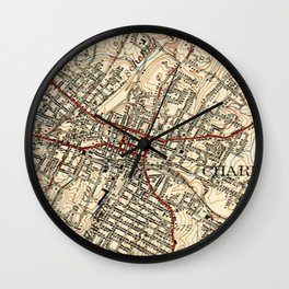 Vintage Map of Charlottesville Virginia (1949) Wall Clock