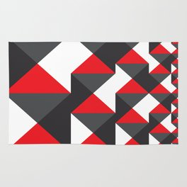 Geometric Pattern #20 (red triangles) Rug