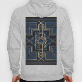 Art Deco Square Mondays In Blue Hoody