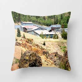 Mayflower Gold Ore Mill, on the Animas River above Silverton Throw Pillow