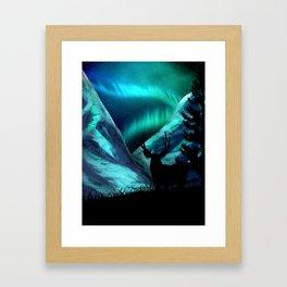 Deer, Mountains, and Aurora Lights Framed Art Print