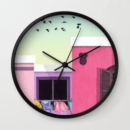 Three houses Wall Clock
