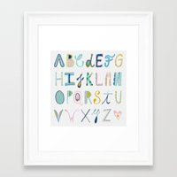 alphabet Framed Art Prints featuring Alphabet by Anto Del Vecchio