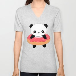 Kawaii Donut Panda Unisex V-Neck