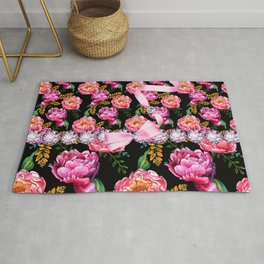 Pink Peony Flowers Pink Dimonds Rug