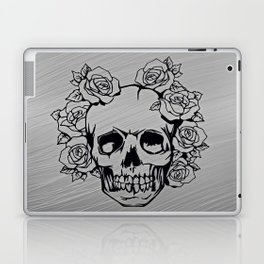 Skull with roses, silver Laptop & iPad Skin