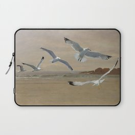 Seagulls Flying Along the Beachfront Laptop Sleeve
