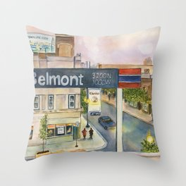 Chicago Train Platform, Brown Line Station, Dusk Throw Pillow