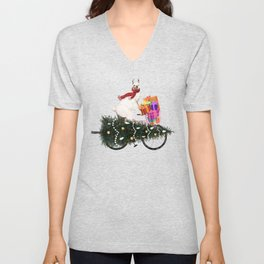 Llama Bringing Home Christmas Tree Unisex V-Neck
