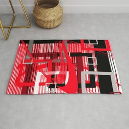 red black silver grey white abstract geometric art Rug