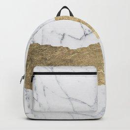 Elegant faux gold foil gray white modern marble Backpack