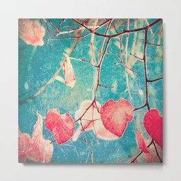 Autumn Hea(u)rts - Textured photography, pinks leafs in blue sky  Metal Print