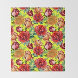 Botanical red orange yellow hand painted roses pattern Throw Blanket