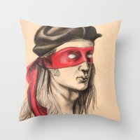 tmnt Throw Pillows featuring Raph TMNT by Rachel M. Loose