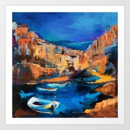 Night Colors Over Riomaggiore - Cinque Terre Art Print