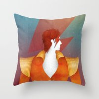 david bowie Throw Pillows featuring Bowie by David van der Veen