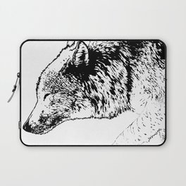 Timber wolf, black ink. Laptop Sleeve