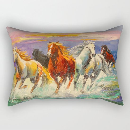 A herd of horses Rectangular Pillow
