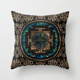 Sri Yantra  / Sri Chakra Marble and Gold Throw Pillow