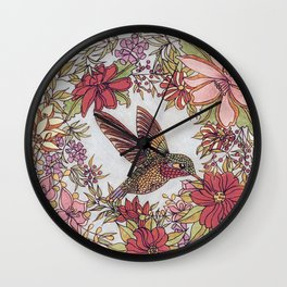 Hummingbird In Flowery Garden Wreath Wall Clock