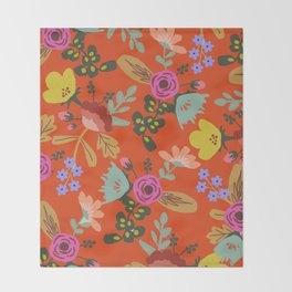 Funky Red Floral Throw Blanket