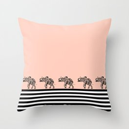ELEPHANT & STRIPES CORAL Throw Pillow