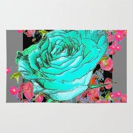TURQUOISE ROSE FLOWERS PINK-GREY DESIGN Rug