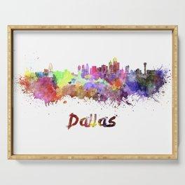Dallas skyline in watercolor Serving Tray