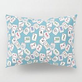 Mahjong Tiles Jumbled Across Aqua Background With Swirls Pillow Sham