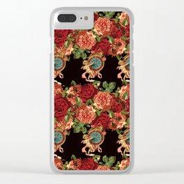 Cherub Floral Vertical Clock Garlands in Black Clear iPhone Case