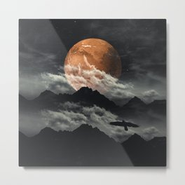 Spaces III - Mars above mountains Metal Print
