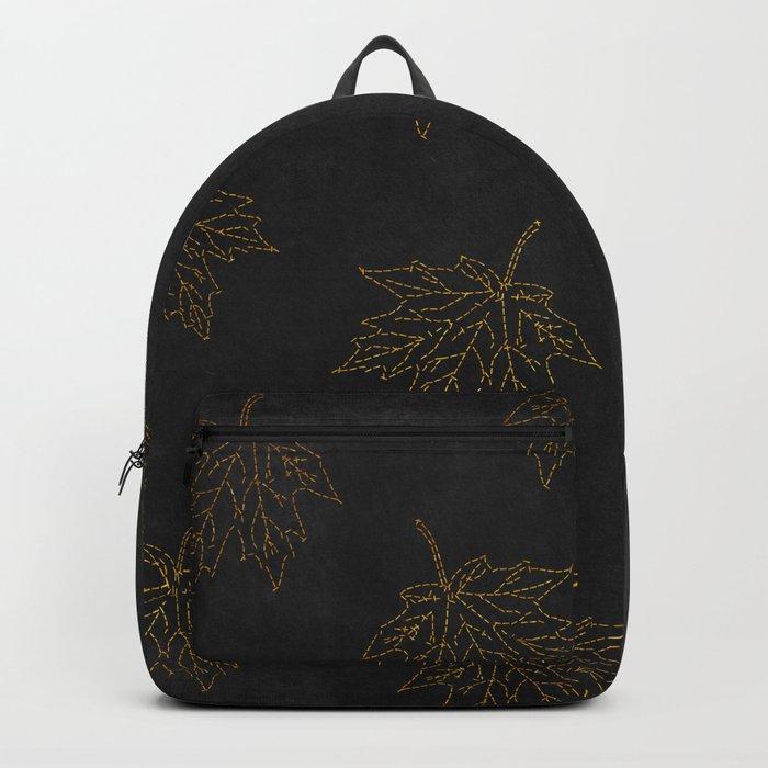 Autumn-world 3 - gold leaves on black chalkboard Backpack