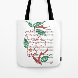 The Legend of the Dogwood  (Copper and Green dogwood on hymn) Tote Bag